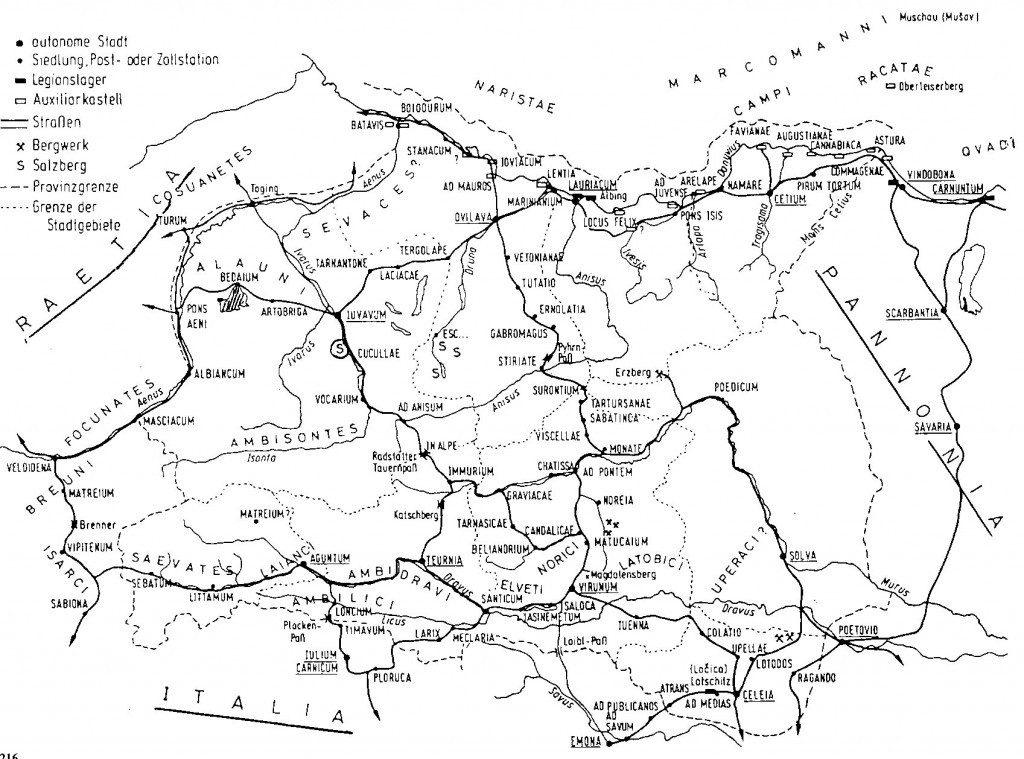 Abb. 1: Noricum Romanum - Noricum in römischer Zeit nach G. Winkler (S) = Hallein/Dürrnberg